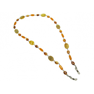 'Natural Shell Oval' Glasses Chain Amber/Yellow
