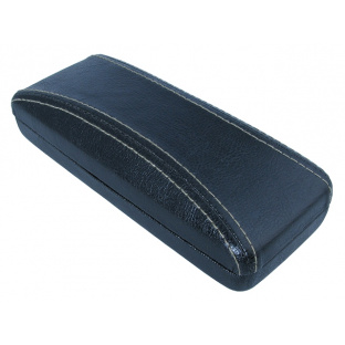 'Aged Leather Look Stitched' Glasses Case Black