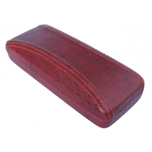 'Aged Leather Look Stitched' Glasses Case Red