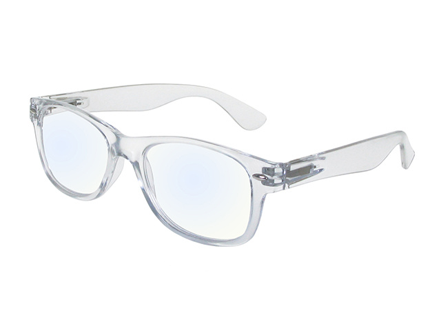 Goodlookers Blue Light Reading Glasses 'Billi' Transparent Side View