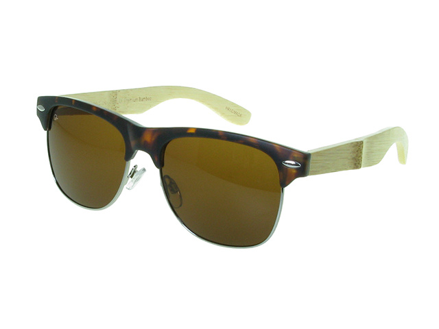 'Morgan' Natural Bamboo Polarized Sunglasses Tortoiseshell