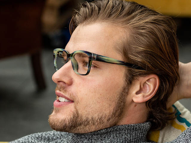 'West' Reading Glasses Gray Stripe