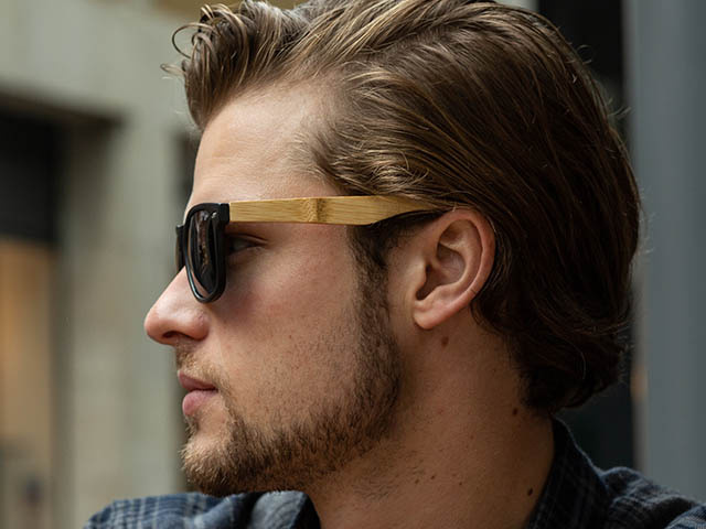 'Ash'' Natural Bamboo Polarized Sunglasses Matte Black