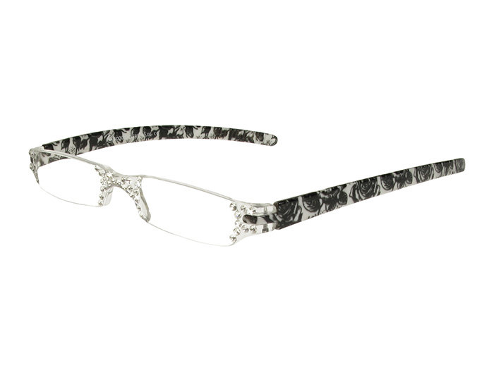 'Quartet' Reading Glasses Black/White Floral