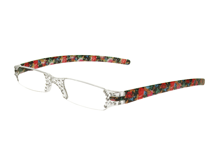 'Quartet' Reading Glasses Blue/Pink Floral