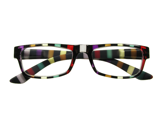 'Allsorts' Reading Glasses Black/Multi-Stripe