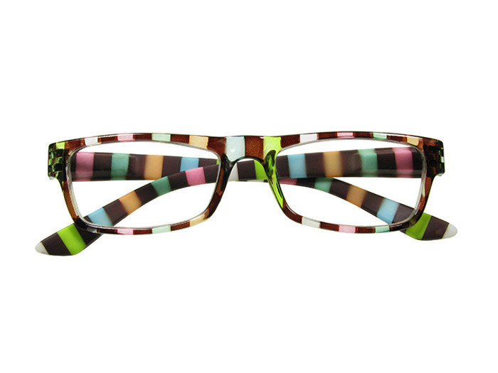 'Allsorts' Reading Glasses Brown/Multi-Stripe