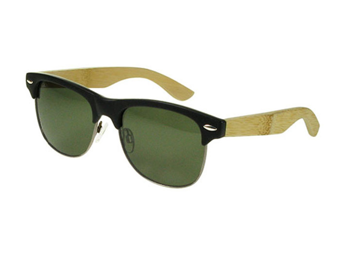 'Morgan' Natural Bamboo Polarized Sunglasses Black