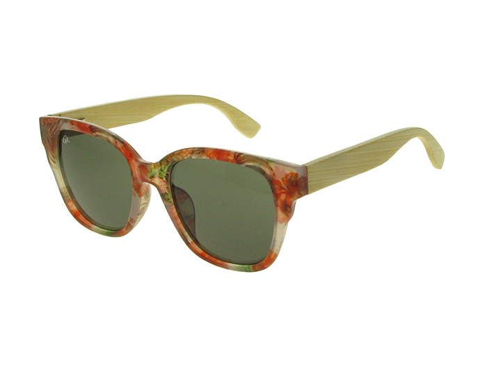 'Carmen' Natural Bamboo Polarized Sunglasses Red Multi