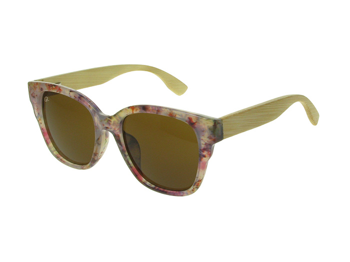 'Carmen' Natural Bamboo Polarized Sunglasses White Multi