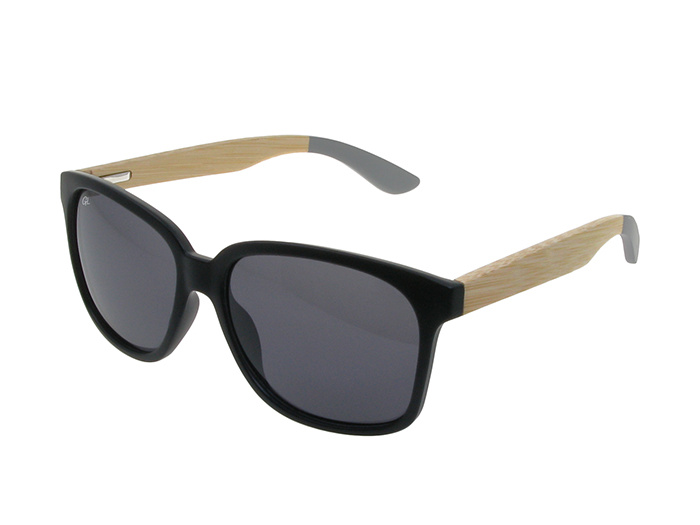 'Delta' Natural Bamboo Polarized Sunglasses Black