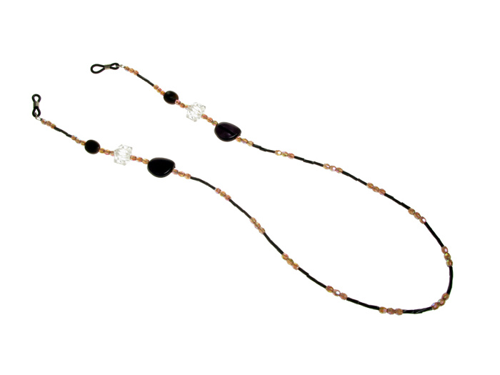 'Iridescent Bead' Glasses Chain Brown/Black