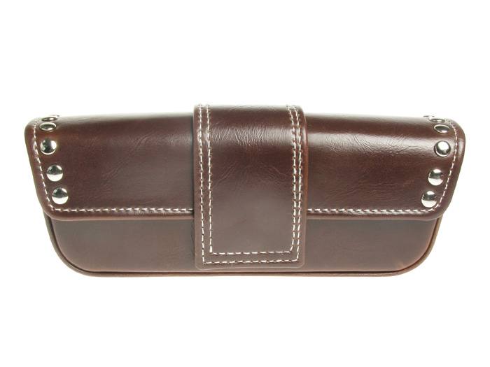 'Stud Design' Glasses Case Brown