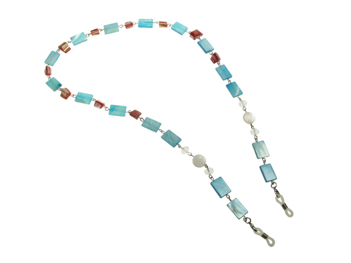 'Natural Shell Rectangular' Glasses Chain Blue