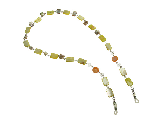 'Natural Shell Rectangular' Glasses Chain Yellow
