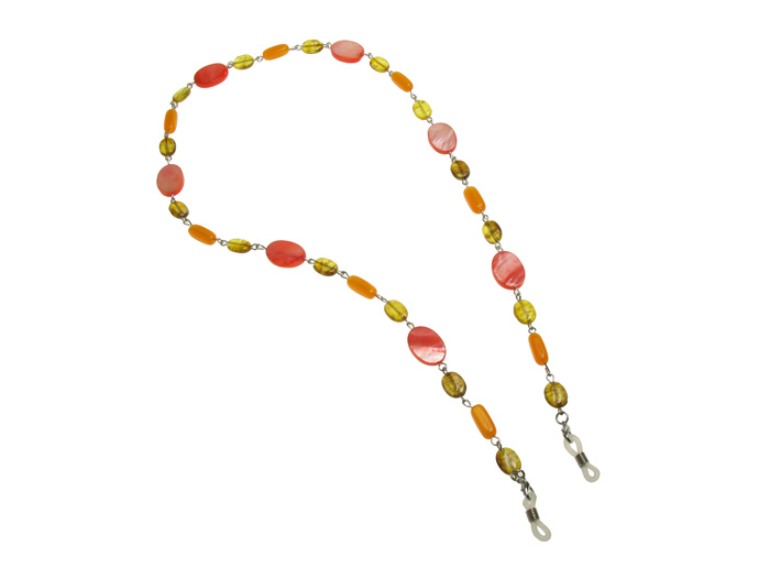 'Natural Shell Oval' Glasses Chain Amber/Pink