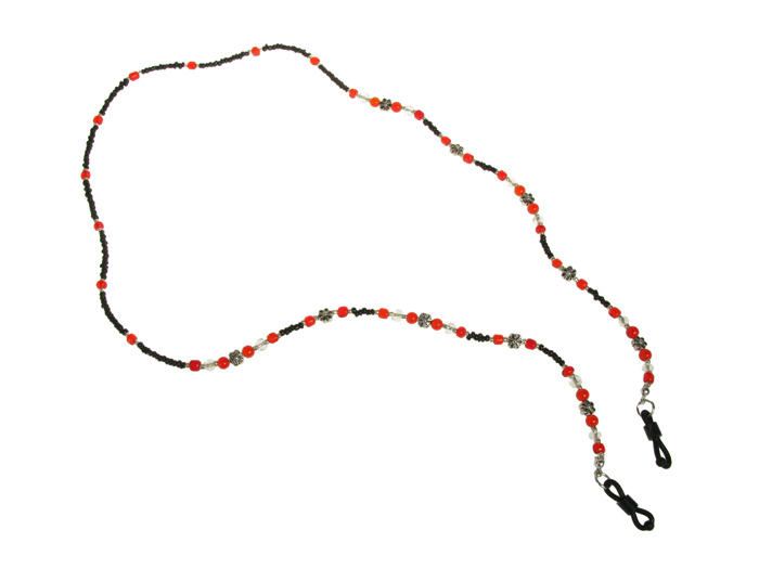 'Daisy Bead' Glasses Chain Black/Red