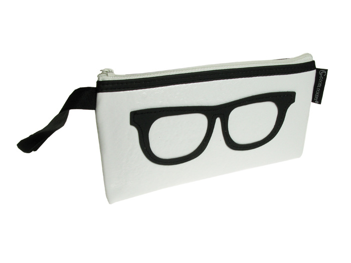 'Geeky Retro' Glasses Case White