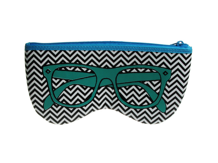 'Shaped Retro' Glasses Case Green