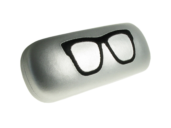 'Stitched Geeky' Glasses Case Silver