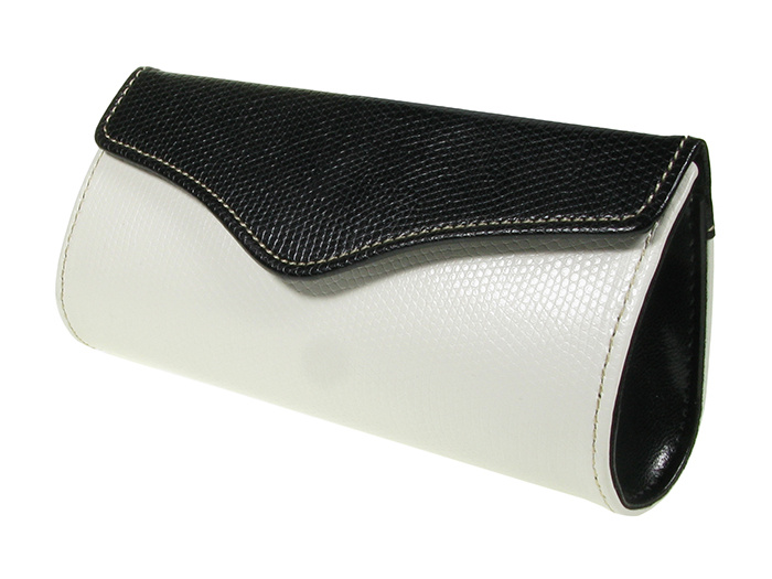 'Two-Tone Purse Design' Glasses Case White/Black