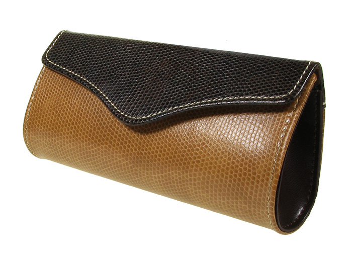 'Two-Tone Purse Design' Glasses Case Brown
