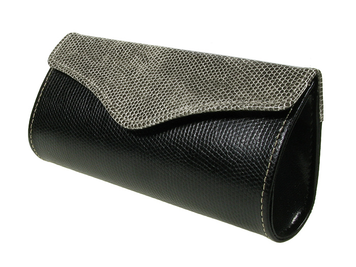 'Two-Tone Purse Design' Glasses Case Gray/Black