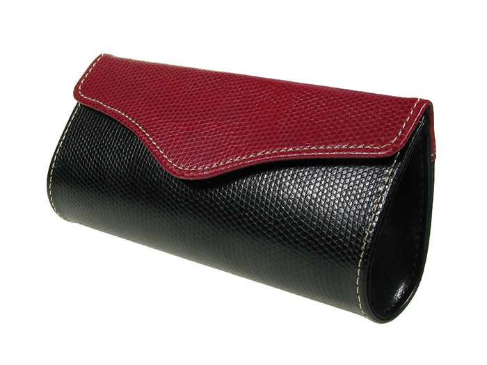 'Two-Tone Purse Design' Glasses Case Red/Black