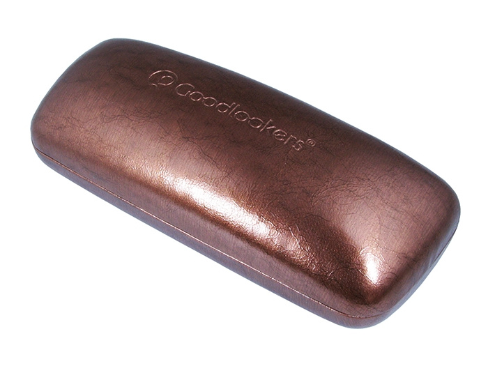 'Aged Leather Look Shiny' Glasses Case Brown