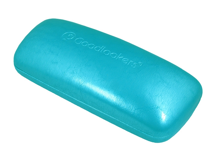 'Aged Leather Look Shiny' Glasses Case Turquoise