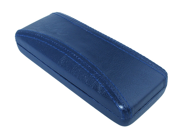 'Aged Leather Look Stitched' Glasses Case Blue