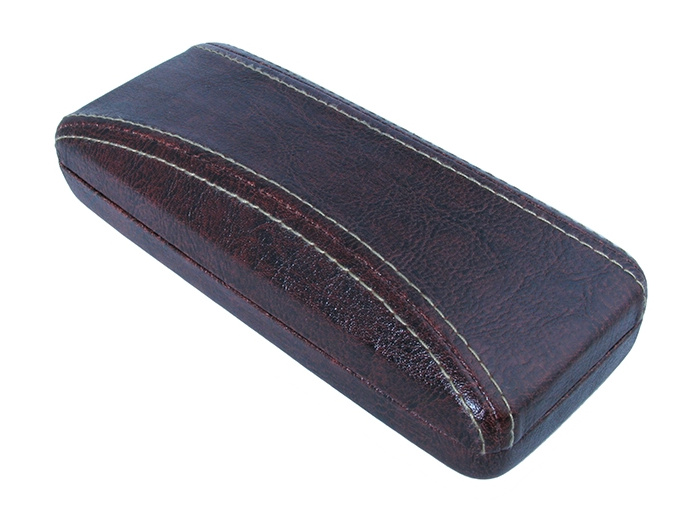 'Aged Leather Look Stitched' Glasses Case Brown